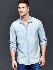 nwt gap icon 1969 bleached chambray denim workers long sleeve S small shirt mens