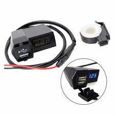 Motorcycle GPS Cell Phone USB Power Socket Charger + Bule LED Voltage Voltmeter