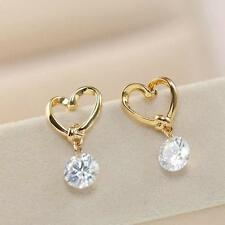 Lovely Women Heart Silver Ear Hook Crystal Rhinestone Earrings Love Jewelry