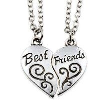 """2PCS Friendship Necklace Heart Letter """"BEST FRIEND"""" Silver Pendant Chain CB145"""