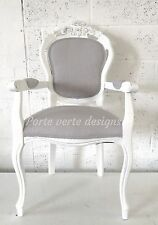 French Louis Style Shabby Chic Dining Chair or Bedroom Chair Voyage Linen Fabric