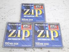 NEW! FUJIFILM 100 MB IBM FORMATTED ZIP DISK LOT OF 3 SEALED