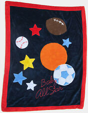 Koala Baby All Star Sports Blue Red Baby Blanket Sherpa Football Basketball