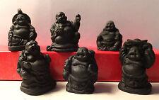 6  Stück Buddha schwarz im Geschenkebox ca. 3,5 cm
