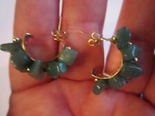 POLISHED GREEN JADE EARRINGS ON GOLD TONE - 9g TW - BBA-5