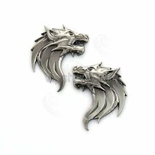 2x3D Wolf Head Metal Emblem Car Truck Motorcycle Rear Bumper Badge Decal Sticker