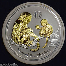 2016 Gilded Australian Monkey 2 oz Silver Coin Lunar Series II, 24k Gold Gilt