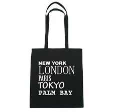 New York, London, Paris, Tokyo PALM BAY  - Jutebeutel Tasche - Farbe: schwarz