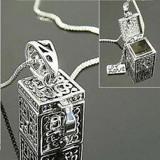 Retro Vintage Silver Necklace Box Charms Pendant  Women Jewelry Christmas Gift