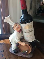 Chef Wine Barrel Bottle Holder Rack Counter Top Kitchen Decor 9.5 Inch Ht