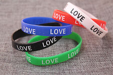 5pcs Fashion Punk Silicone Wristband LOVE Alphbet Mixed Color Randomly Bracelet