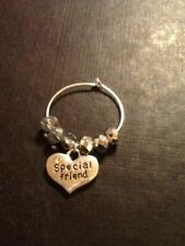 Special friend wine glass charm silver in colour with crystals