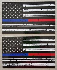 Thin Blue & Red Line Fire Fighter Police respect flag Car Vinyl Decal Sticker