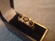 LADIES .750 18CT YELLOW GOLD DIAMOND / SAPHIRE RING 4g SIZE L BOXED REF 0751