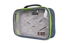 BUBM Blue Clear Rectangle Electronic Accessories Carry Case Travel Organiser Bag
