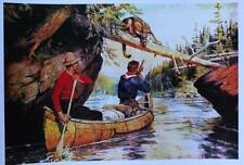 Hunters Canoe Cougar by Phillip Goodwin vintage art