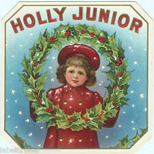 CIGAR BOX LABEL VINTAGE OUTER C1890S HOLLY JUNIOR CHRISTMAS EMBOSSED PRINTING
