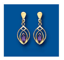 9ct Yellow Gold Real Amethyst Marquise Drop Earrings Hallmarked British Made