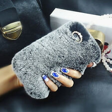 Gray Rhinestone Phone Cover Case Luxury Faux Fur Crystal for iPhone 7 6 6S Plus