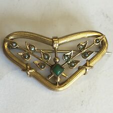 Antique 9ct Solid Gold Seed Pearl Green Stone Possibly Jade Brooch 3.3cm X 2cm