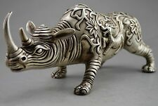 "10"" Chinese Fengshui Silver copper Beast Kirin Kylin The rhino Rhinoceros Statue"
