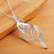 "New Women Fashion Jewelry 925 Sterling Silver Plated 18"" Chain Pendant Necklace"