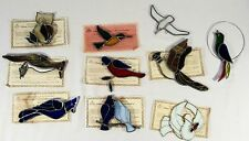 Lot of 10 TIFFANY Stained Glass Collectors Society Suncatchers w/ COA ~ BIRDS