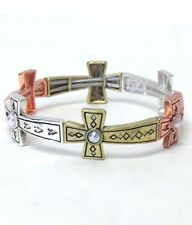CROSSES Tri Tone Cross Link Pearl Religious Christian Stretch Charm Bracelet
