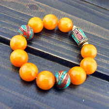 Tibetan Style Amber Color Jade Turquoise Coral Beads Strand Handmade Bracelet