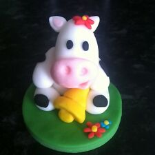 Edible Cow On Plaque Cake Topper Icing Decoration