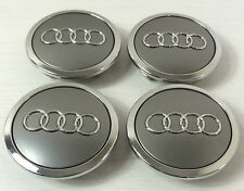4 Wheel Center BADGE Caps HUB 69mm AUDI A3 A4 A5 A6 A7 S3 S4 S5 TT Q3 Q5 Q7 GREY
