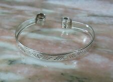 Sterling Silver Cuff Bracelet Etched Love Heart Cuff  9.5 Grams - Flexible