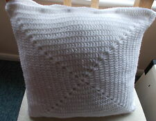 Handmade crochet cushion cover white granny square