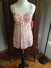 New Cinema Etoile Seductive Wear Babydoll Pink floral with matching thong MEDIUM