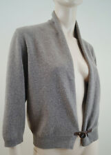 FABIANA FILIPPI Brown Merinos Wool Silk & Cashmere Leather Tab Shrug Cardigan