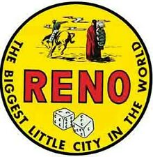 "RENO, Nevada  NV  ""Biggest Little City""   Vintage-Looking   Travel Decal/Sticker"