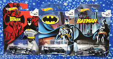 Batman Hot Wheels Batmobile Lot of 3 Die Cast Cars 75th Anniversary New MISP