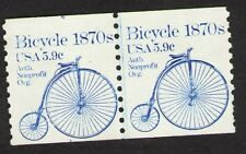 US. 1901. Bicycle 1870s, Coil Line Pair. #4 at Up. Shiftier. Mint. NH