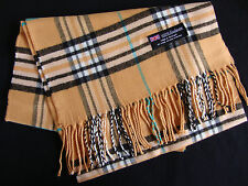 100% Cashmere Winter Scarf Scarve Scotland Plaid Check Mustard Black White Blue