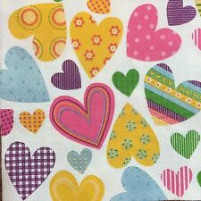 2 single paper napkins Decoupage Scrapbooking Collection (cocktail size) Hearts