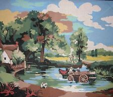 EP 4017 Country Cottage Fording Wagon Scene Vintage Printed Needlepoint Canvas