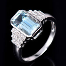 Estate 2.7ct Natural Diamond Blue Aquamarine Ring Solid 14K White Gold Size 7