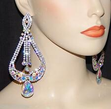SILVER BRIDAL W AB IRIDESCENT RHINESTONE CRYSTAL CHANDELIER PARTY EARRINGS