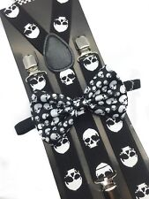Halloween Skull Head Design Bow Tie & Suspender Set Tuxedo Wedding Accessories