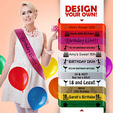 Personalised Birthday Sash Any Age Hot Pink Gift 16 17 18 21 30 Party Girl!