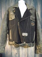Harley Davidson Mens XL Factory Distressed Leather Denim Motorcyle Riding Jacket