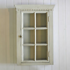 Shabby Chic Vintage Glass Wall Display Cabinet Shelf Unit Grey Green Wooden