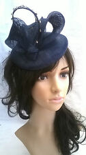 NEW NAVY BLUE PILLBOX SINAMAY & DIAMANTE QUILL FASCINATOR HAT.Wedding.races