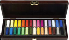 Rembrandt Artists Soft Pastels - 30 Half Size Pastels - Wooden Box Set