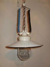 Lampe Deckenlampe, Hoflampe um 1930, Porzellankopf m. Schraubglas, Emailleschirm